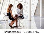 two businesswomen meeting in... | Shutterstock . vector #361884767