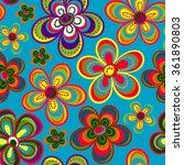 seamless colorful retro flower... | Shutterstock .eps vector #361890803
