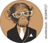 hand drawn vector portrait of... | Shutterstock .eps vector #361898717