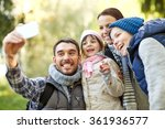 family taking selfie with... | Shutterstock . vector #361936577