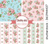Shabby Chic Rose Patterns. Set...