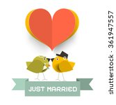 just married card with paper... | Shutterstock .eps vector #361947557
