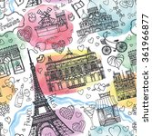 paris landmark love seamless... | Shutterstock .eps vector #361966877