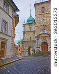 Small photo of Church of the Jesuits in the Old City of Solothurn. Solothurn is the capital of Solothurn canton in Switzerland. It is located on banks of the Aare river