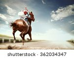 racing horse coming first to... | Shutterstock . vector #362034347