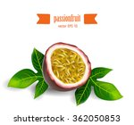 volumetric passion fruit set... | Shutterstock .eps vector #362050853