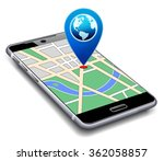 location pointer with world... | Shutterstock .eps vector #362058857