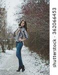 portrait of a girl on a winter... | Shutterstock . vector #362066453