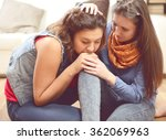 two friends talking  comforting ... | Shutterstock . vector #362069963