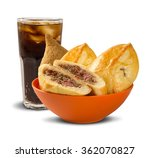 esfiha meat and soda on the... | Shutterstock . vector #362070827