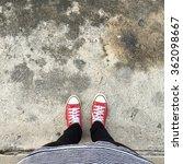 selfie of sneakers on the road... | Shutterstock . vector #362098667