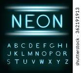 neon light alphabet font. neon... | Shutterstock .eps vector #362191913