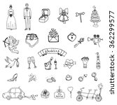 hand drawn doodle wedding... | Shutterstock .eps vector #362299577