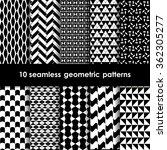 10 geometric seamless patterns... | Shutterstock .eps vector #362305277