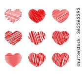 set of vector hand drawn red... | Shutterstock .eps vector #362363393
