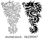 asian dragon tattoo with stencil | Shutterstock .eps vector #36239047