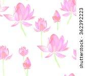 lotus watercolor seamless... | Shutterstock . vector #362392223