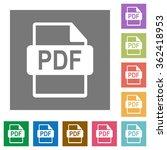 pdf file format flat icon set...