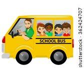 multiracial school kids riding... | Shutterstock .eps vector #362424707