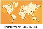 air travel paths on world map... | Shutterstock .eps vector #362463437