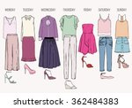 women's clothes for a week.... | Shutterstock .eps vector #362484383