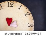 two handmade stitched hearts on ... | Shutterstock . vector #362499437