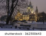 Stock photo hannover germany january rathaus hannover in winter at evening 362500643