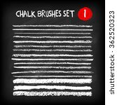 Set of chalk brushes. Grunge lines with chalk texture. Hand drawn design elements on chalkboard background. Vector illustration.