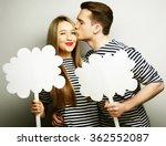 Amorous Couple Holding Blank...