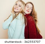 two young girlfriends in winter