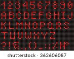 red led alphabet and numbers ... | Shutterstock .eps vector #362606087