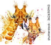watercolor cute giraffe... | Shutterstock . vector #362650943