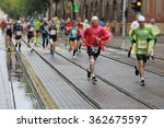 marathon runners race in city... | Shutterstock . vector #362675597
