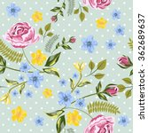 vector seamless roses floral... | Shutterstock .eps vector #362689637
