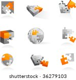set of vector puzzle icons and...   Shutterstock .eps vector #36279103