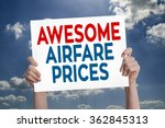 Small photo of Awesome Airfare Prices Card with Cloud Background