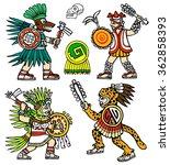 four aztec warriors  skull ... | Shutterstock .eps vector #362858393