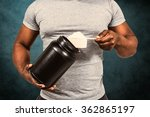fit man scooping protein powder ... | Shutterstock . vector #362865197