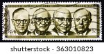 Small photo of ZAGREB, CROATIA - DECEMBER, 2015: a stamp printed in South Africa shows Former Presidents Swart, Fouche, Diederichs and Vorster, from 1961 to 1981, circa 1981