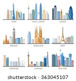 city skyline flat icons set | Shutterstock . vector #363045107