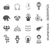 chapito circus icons set black | Shutterstock . vector #363045923