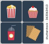 snacks icon set. bucket of... | Shutterstock . vector #363063413
