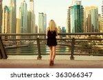 girl standing at the bridge in... | Shutterstock . vector #363066347