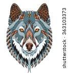 gray wolf head zentangle... | Shutterstock .eps vector #363103373