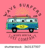 van surf illustration  t shirt... | Shutterstock .eps vector #363137507