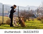 woman instructing dogs outside | Shutterstock . vector #363226553