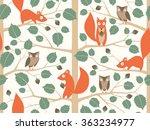 Cute Woodland Seamless Pattern...