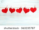 Love Hearts Hanging On Rope On...