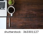 wood office desk table with... | Shutterstock . vector #363301127