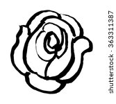 freehand sketch illustration of rose doodle hand drawn